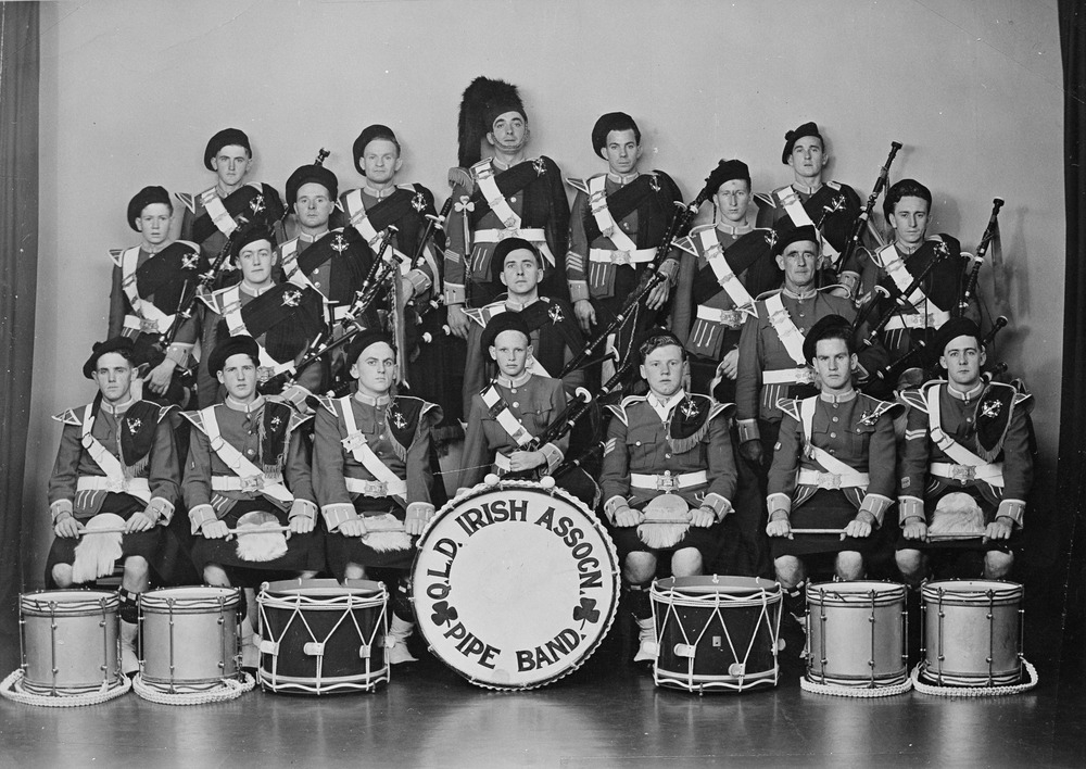 Queensland Irish Association Pipe Band in Brisbane Queensland ca. 1949